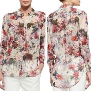 NWT Haute Hippie Floral Watercolor Silk Blouse